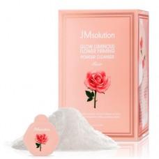 Энзимная пудра для сияния кожи с розовой водой JM Solution Glow Luminious Flower Firming Powder Cleanser Rose