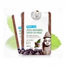 Тканевая маска успокаивающая, для увлажнения, питания и очищения пор WELCOS Jeju Natural Mask - С экстрактом зеленого чая