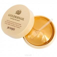 Гидро-гелевые патчи для век с муцином улитки Petitfee Hydro Gel Eye Patch Gold & Snail